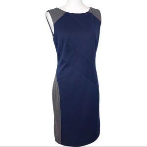 WHBM Gray/Navy Knit Sleeveless Sheath Dress 6